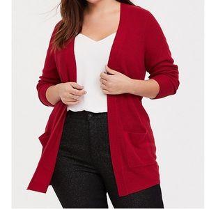 Torrid Red Rib Knit Open Front Cardigan